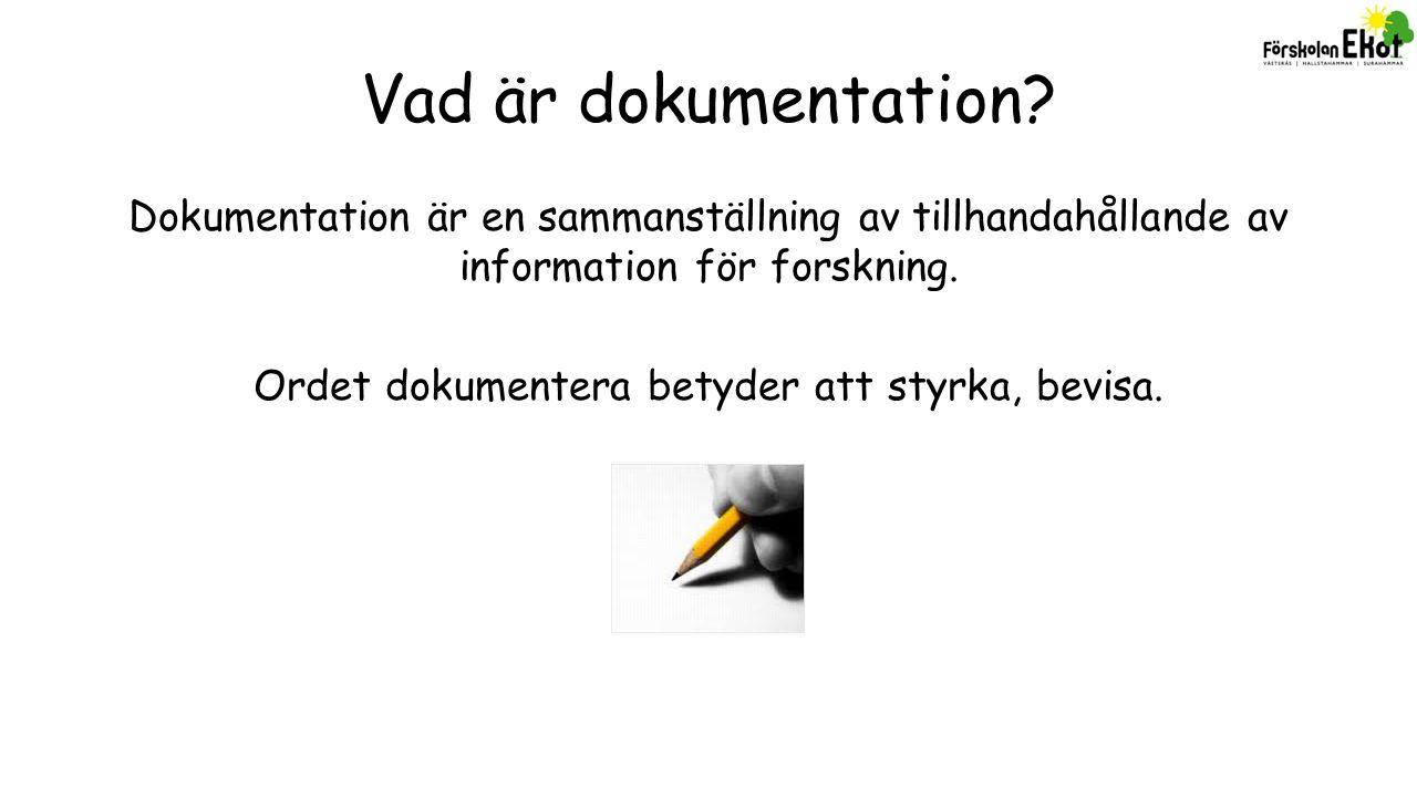 Dokumentation Pedagogisk dokumentation:Informationsdokumentation:Individdokumentation: Observation (olika sorter) Fotografi Film Ljudinspelning Tidslinje mm Genom reflektion blir dokumentationen pedagogisk.