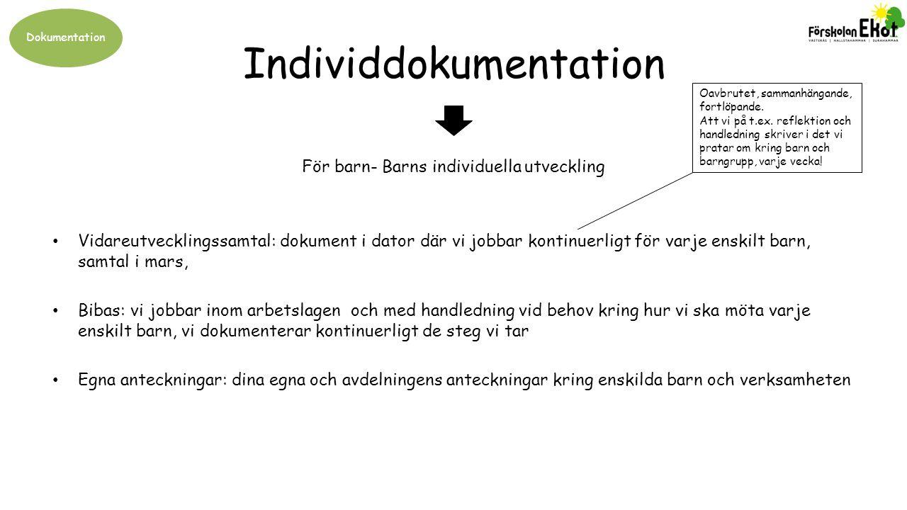 Dokumentation Individdokumentation Vidareutvecklingssamtal: dokument i dator där vi jobbar kontinuerligt för varje enskilt barn, samtal i mars, Bibas: