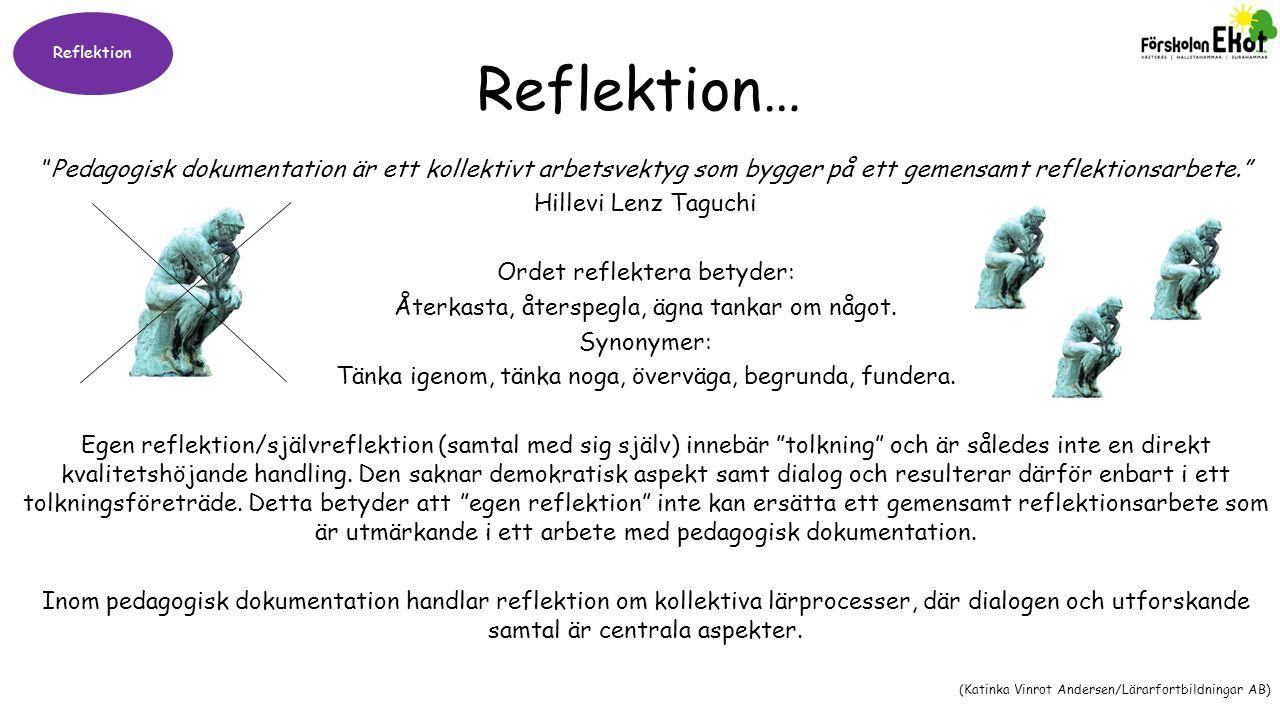 """Reflektion Reflektion… """"Pedagogisk dokumentation är ett kollektivt arbetsvektyg som bygger på ett gemensamt reflektionsarbete."""" Hillevi Lenz Taguchi O"""