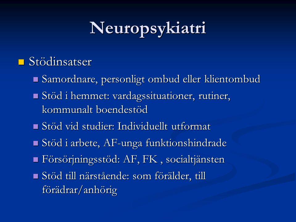Neuropsykiatri Stödinsatser Stödinsatser Samordnare, personligt ombud eller klientombud Samordnare, personligt ombud eller klientombud Stöd i hemmet: