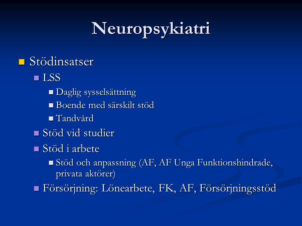 Neuropsykiatri Stödinsatser Stödinsatser LSS LSS Daglig sysselsättning Daglig sysselsättning Boende med särskilt stöd Boende med särskilt stöd Tandvår