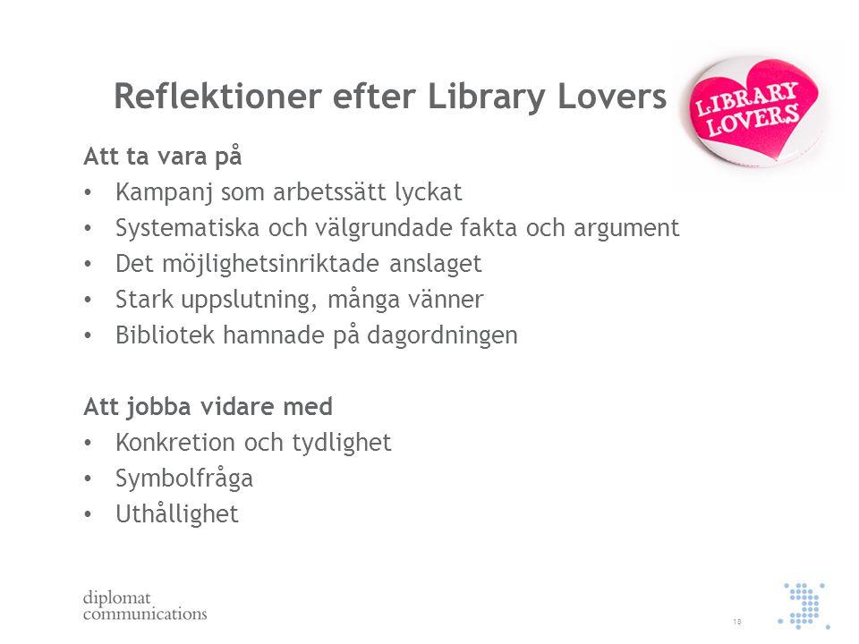 Reflektioner efter Library Lovers Att ta vara på Kampanj som arbetssätt lyckat Systematiska och välgrundade fakta och argument Det möjlighetsinriktade