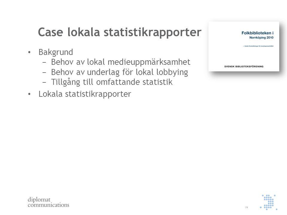 Case lokala statistikrapporter Bakgrund − Behov av lokal medieuppmärksamhet − Behov av underlag för lokal lobbying − Tillgång till omfattande statisti