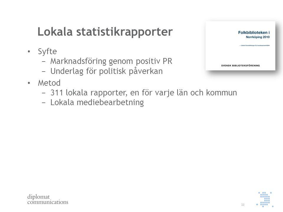 Lokala statistikrapporter Syfte − Marknadsföring genom positiv PR − Underlag för politisk påverkan Metod − 311 lokala rapporter, en för varje län och