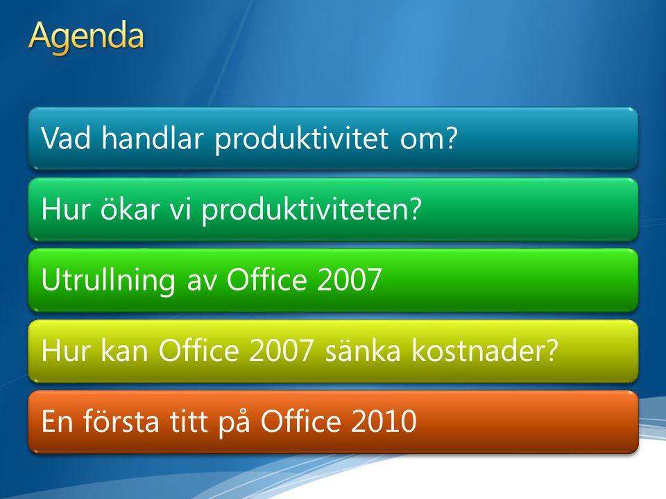 Vad handlar produktivitet om?Hur ökar vi produktiviteten?Utrullning av Office 2007Hur kan Office 2007 sänka kostnader?En första titt på Office 2010