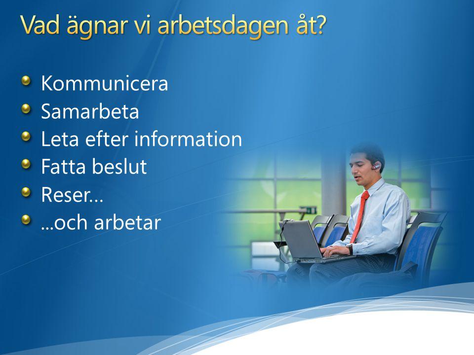 Kommunicera Samarbeta Leta efter information Fatta beslut Reser…...och arbetar