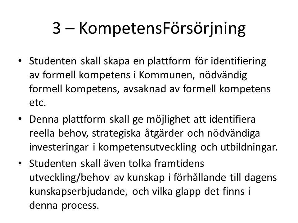 3 – KompetensFörsörjning Studenten skall skapa en plattform för identifiering av formell kompetens i Kommunen, nödvändig formell kompetens, avsaknad av formell kompetens etc.