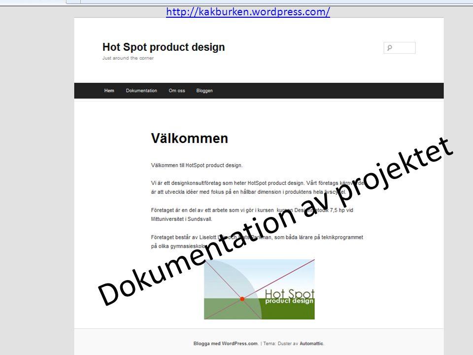 Dokumentation av projektet http://kakburken.wordpress.com/