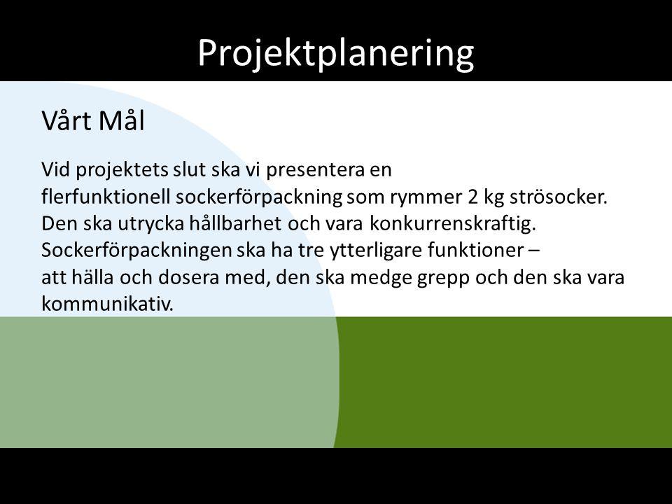 Projektplanering Vårt Mål Vid projektets slut ska vi presentera en flerfunktionell sockerförpackning som rymmer 2 kg strösocker. Den ska utrycka hållb