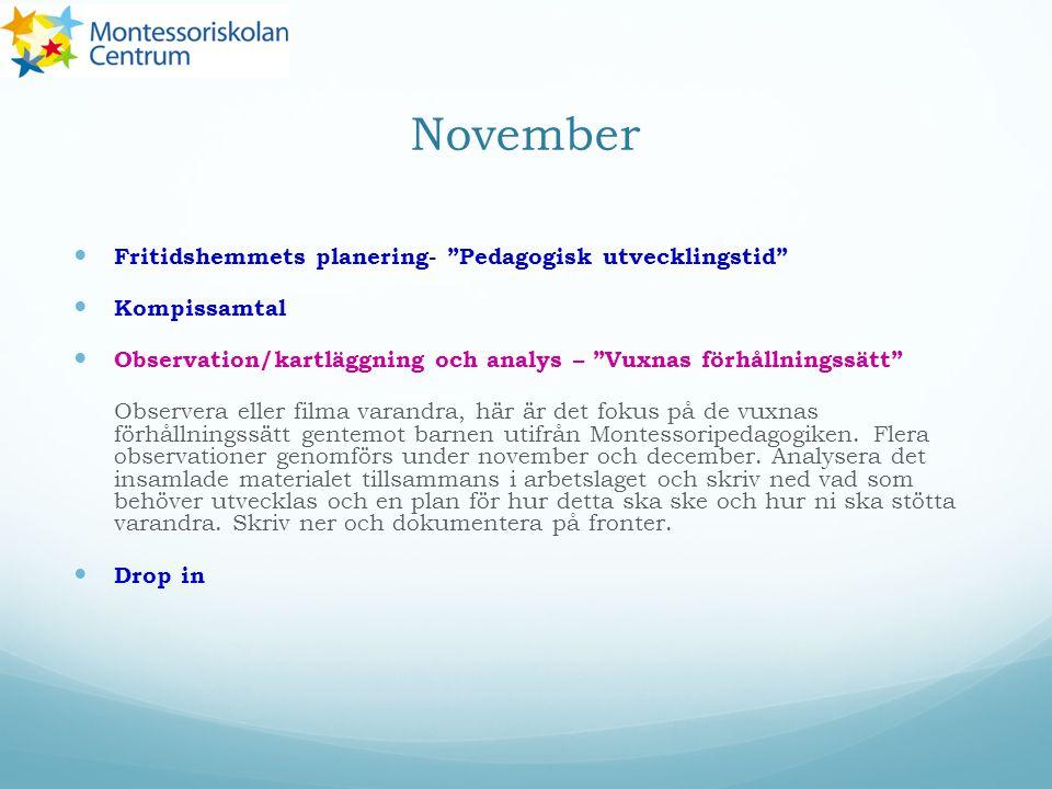 """November Fritidshemmets planering- """"Pedagogisk utvecklingstid"""" Kompissamtal Observation/kartläggning och analys – """"Vuxnas förhållningssätt"""" Observera"""