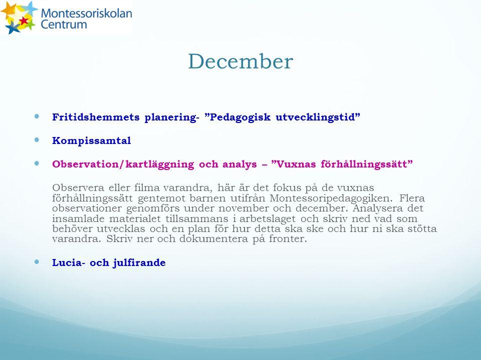 """December Fritidshemmets planering- """"Pedagogisk utvecklingstid"""" Kompissamtal Observation/kartläggning och analys – """"Vuxnas förhållningssätt"""" Observera"""