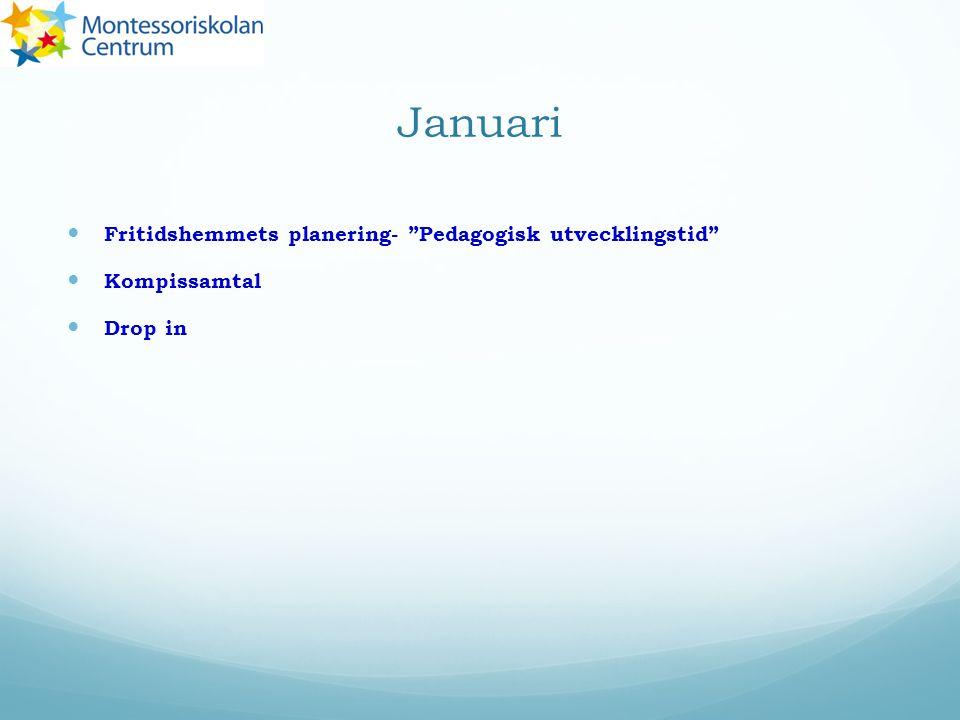 """Januari Fritidshemmets planering- """"Pedagogisk utvecklingstid"""" Kompissamtal Drop in"""