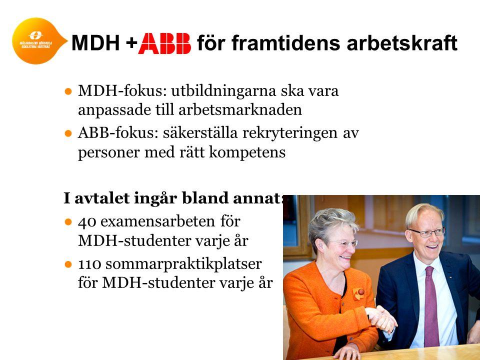 ●MDH-fokus: utbildningarna ska vara anpassade till arbetsmarknaden ●ABB-fokus: säkerställa rekryteringen av personer med rätt kompetens I avtalet ingå