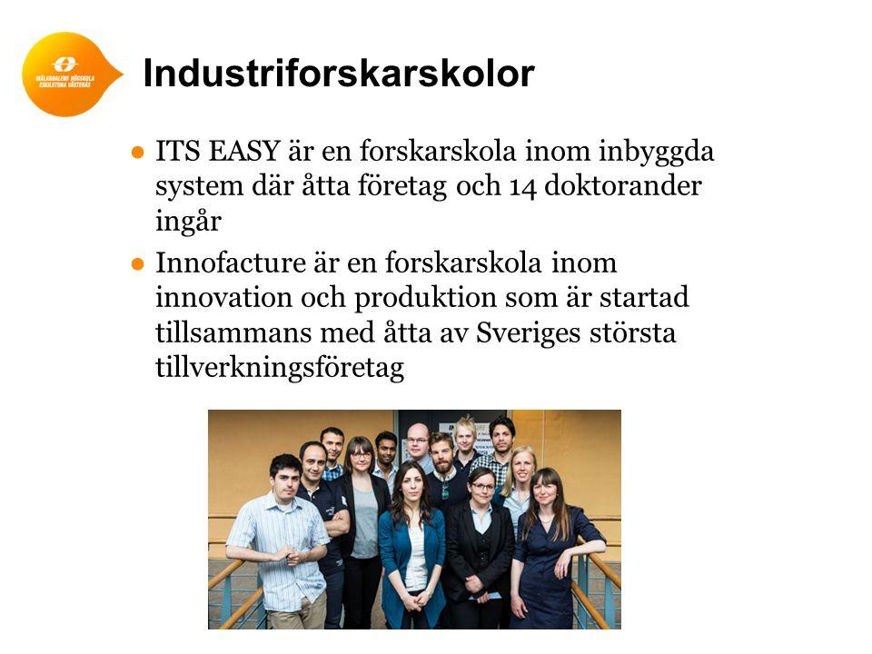 ●ITS EASY är en forskarskola inom inbyggda system där åtta företag och 14 doktorander ingår ●Innofacture är en forskarskola inom innovation och produk