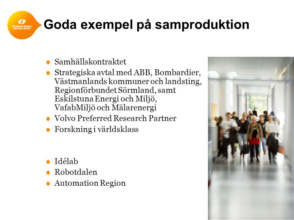 Goda exempel på samproduktion ●Samhällskontraktet ●Strategiska avtal med ABB, Bombardier, Västmanlands kommuner och landsting, Regionförbundet Sörmlan