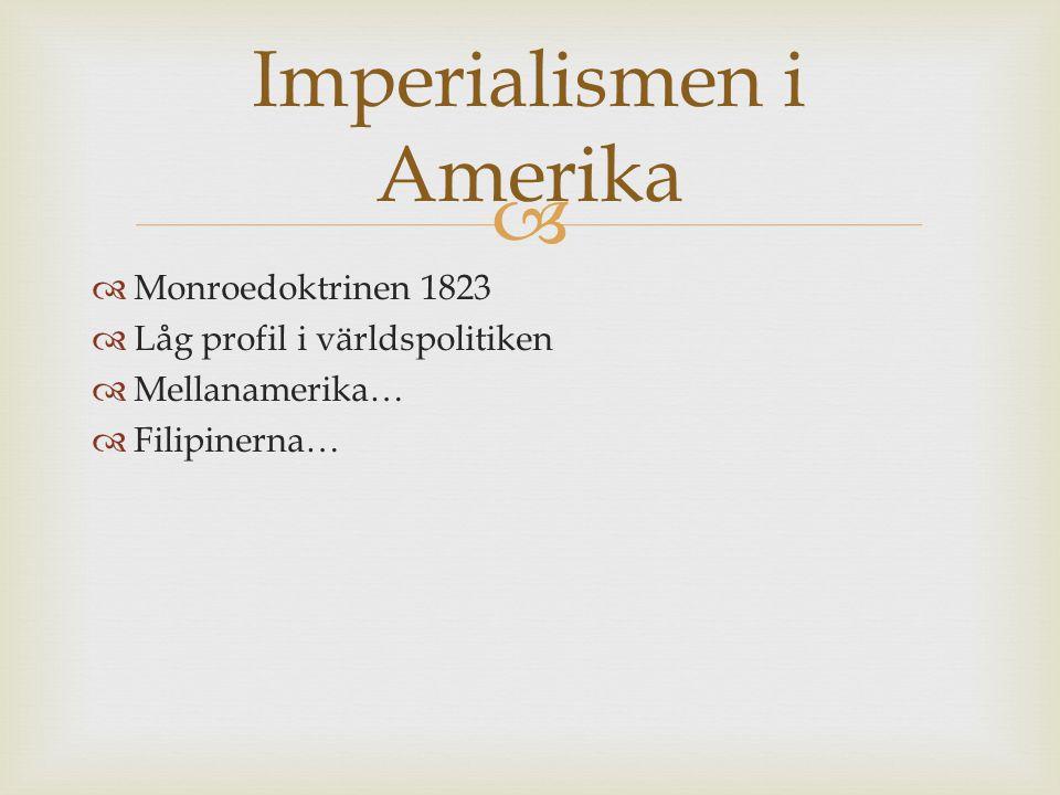   Monroedoktrinen 1823  Låg profil i världspolitiken  Mellanamerika…  Filipinerna… Imperialismen i Amerika