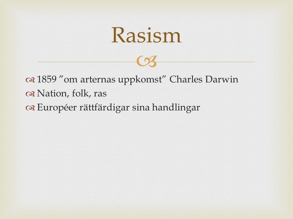 """  1859 """"om arternas uppkomst"""" Charles Darwin  Nation, folk, ras  Européer rättfärdigar sina handlingar Rasism"""