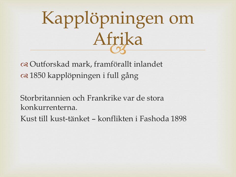   Outforskad mark, framförallt inlandet  1850 kapplöpningen i full gång Storbritannien och Frankrike var de stora konkurrenterna. Kust till kust-tä