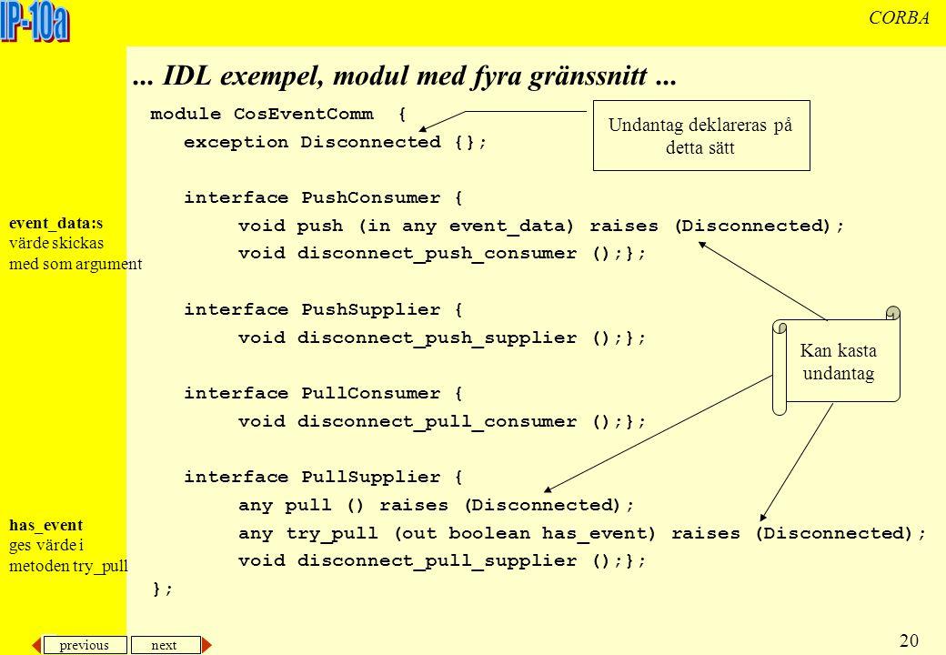 previous next 20 CORBA...IDL exempel, modul med fyra gränssnitt...
