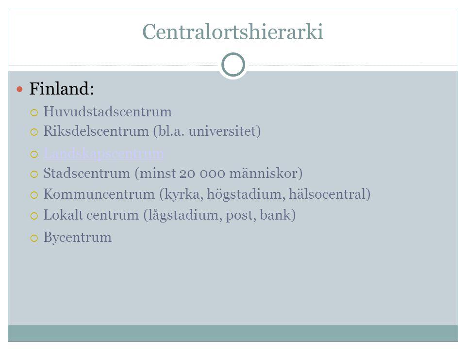 Centralortshierarki Finland:  Huvudstadscentrum  Riksdelscentrum (bl.a. universitet)   Landskapscentrum Landskapscentrum  Stadscentrum (minst 20