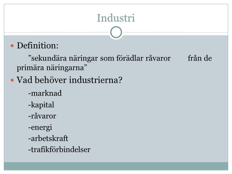 """Industri Definition: """"sekundära näringar som förädlar råvaror från de primära näringarna"""" Vad behöver industrierna? -marknad -kapital -råvaror -energi"""