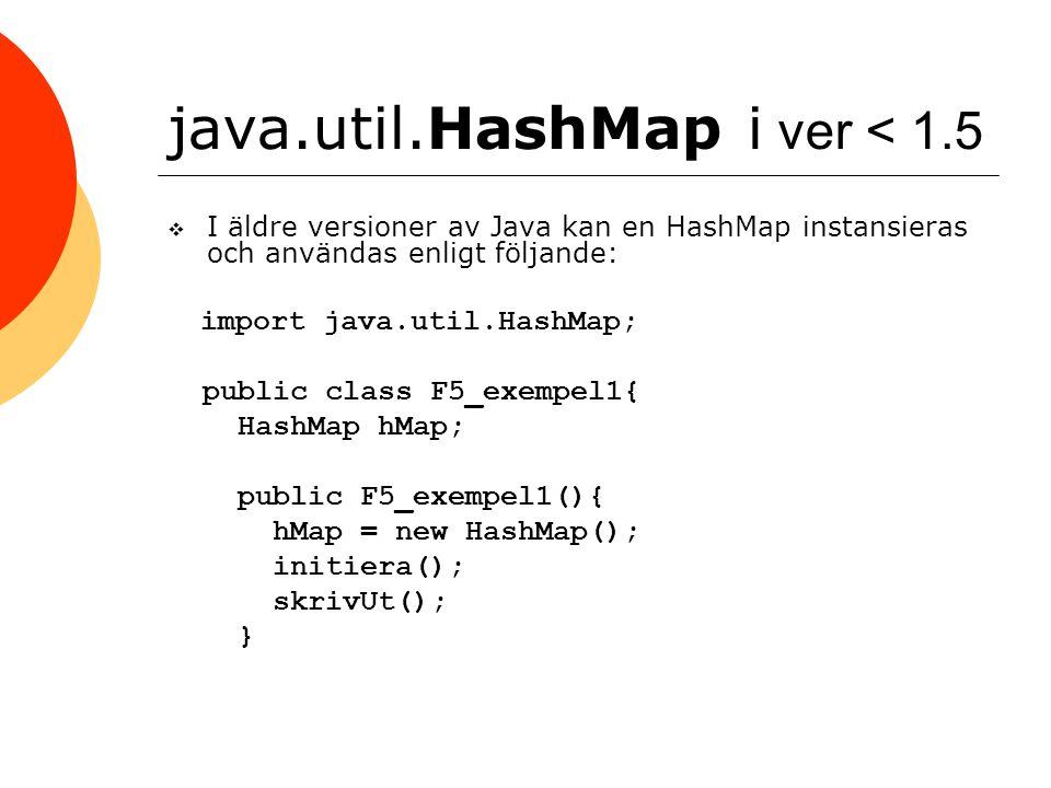 java.util.HashMap i ver < 1.5  I äldre versioner av Java kan en HashMap instansieras och användas enligt följande: import java.util.HashMap; public c