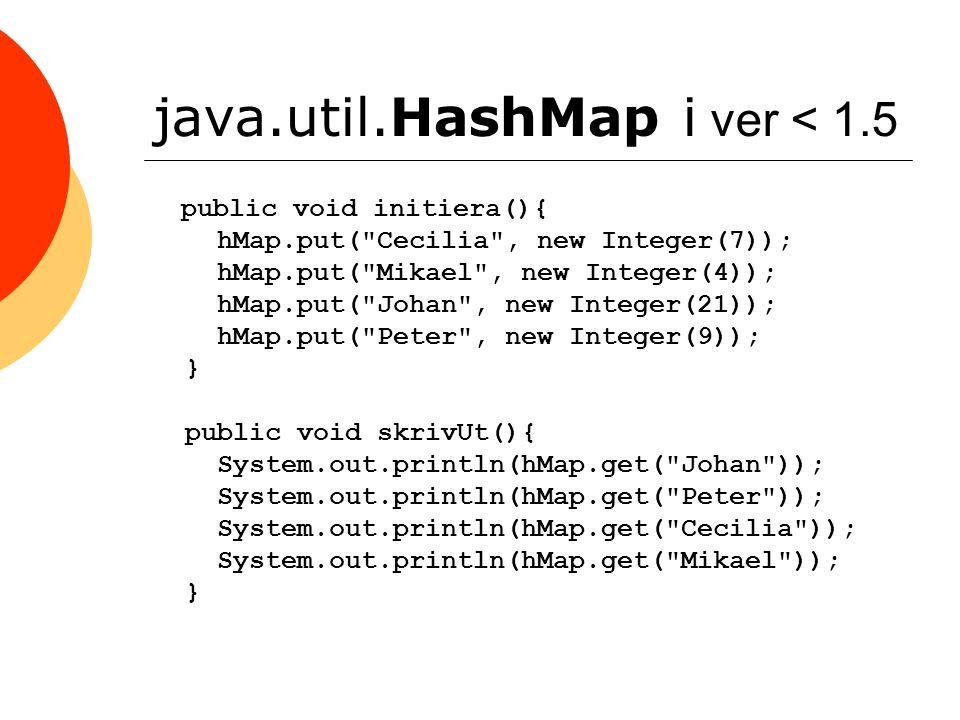 java.util.HashMap i ver < 1.5 public void initiera(){ hMap.put(