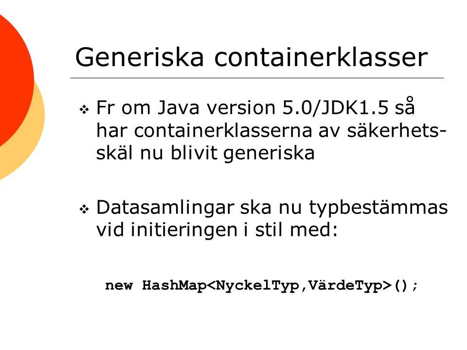Generiska containerklasser  Fr om Java version 5.0/JDK1.5 så har containerklasserna av säkerhets- skäl nu blivit generiska  Datasamlingar ska nu typ