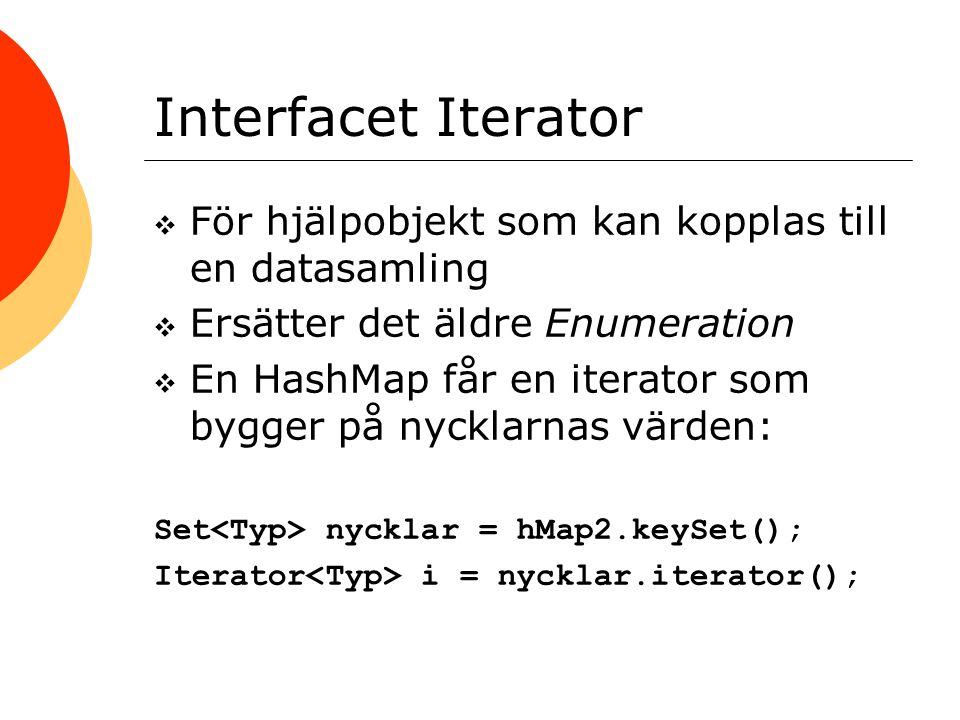 Interfacet Iterator  För hjälpobjekt som kan kopplas till en datasamling  Ersätter det äldre Enumeration  En HashMap får en iterator som bygger på