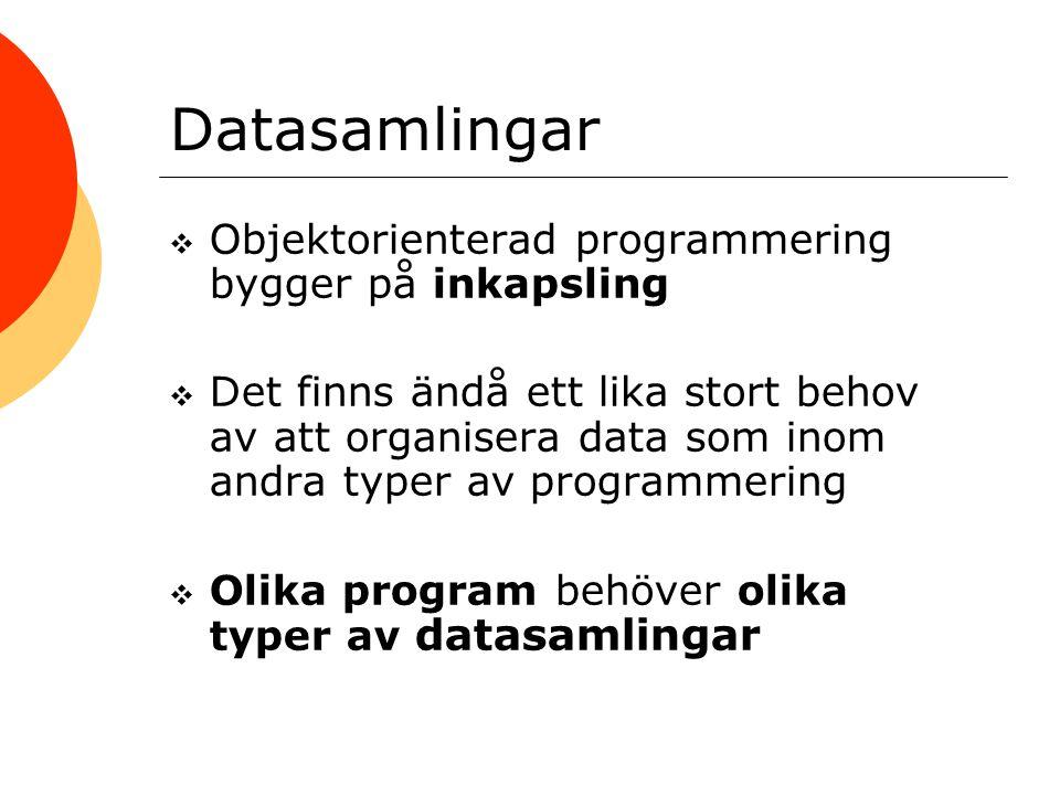 Datasamlingar  Objektorienterad programmering bygger på inkapsling  Det finns ändå ett lika stort behov av att organisera data som inom andra typer