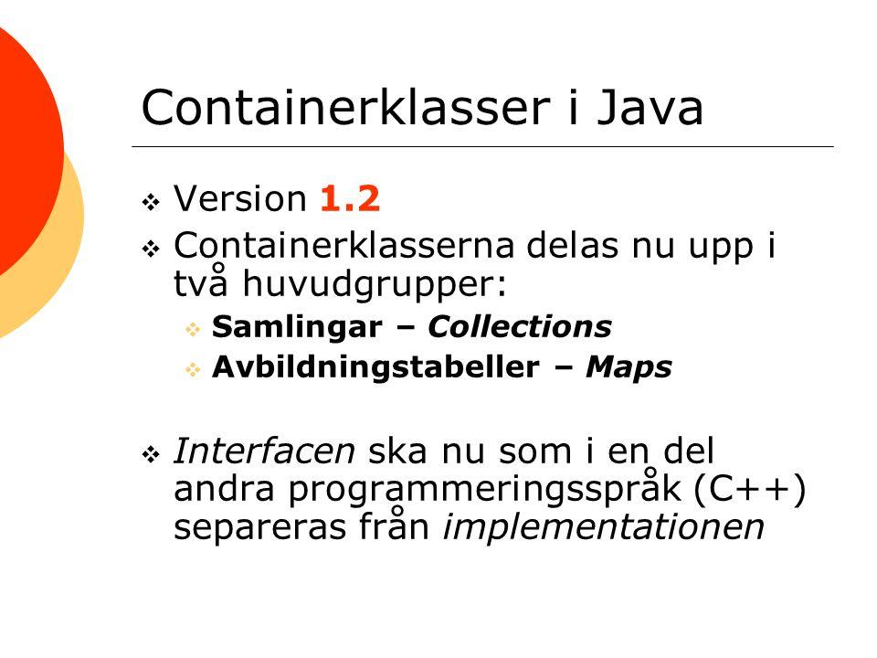 Containerklasser i Java  Version 1.2  Containerklasserna delas nu upp i två huvudgrupper:  Samlingar – Collections  Avbildningstabeller – Maps  I
