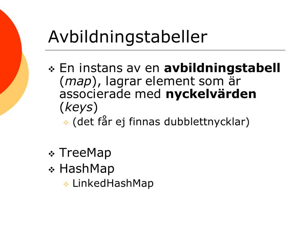 Avbildningstabeller  En instans av en avbildningstabell (map), lagrar element som är associerade med nyckelvärden (keys)  (det får ej finnas dubblet