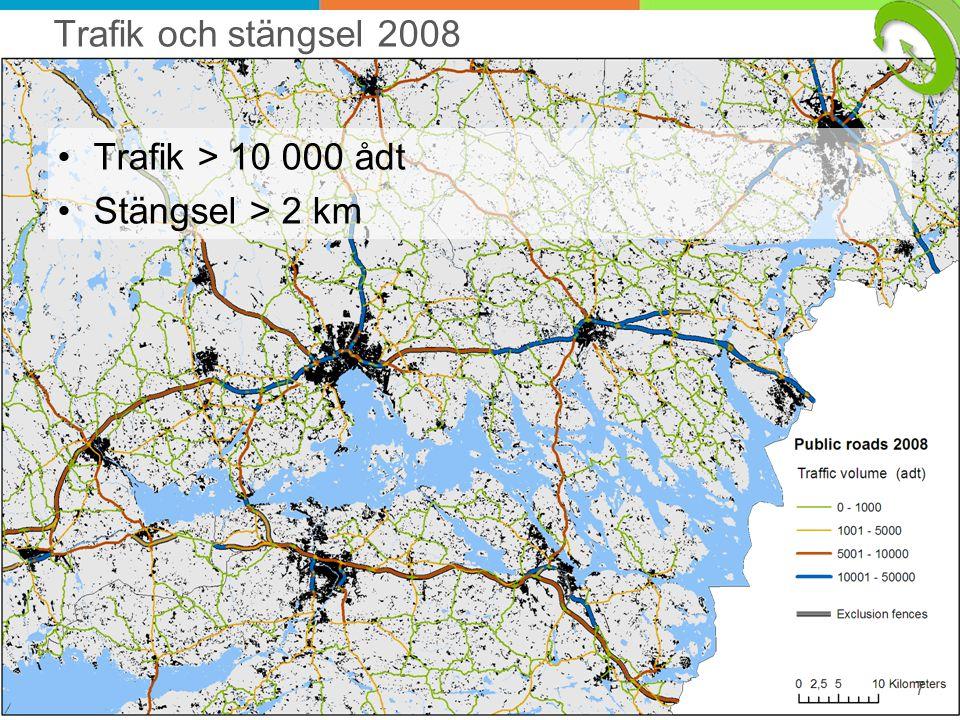 Vägbroar som potentiella viltpassager Bredden > 7 m (++) Trafik genom < 1000 ådt Upptagningsområde < 4 km 8