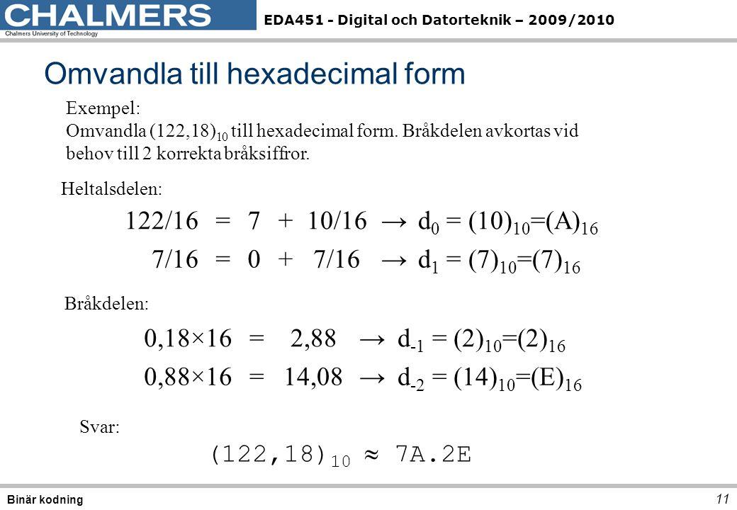 EDA451 - Digital och Datorteknik – 2009/2010 Omvandla till hexadecimal form 11 Binär kodning 122/16=7+10/16→d 0 = (10) 10 =(A) 16 7/16=0+ →d 1 = (7) 10 =(7) 16 Heltalsdelen: Bråkdelen: 0,18×16=2,88→d -1 = (2) 10 =(2) 16 0,88×16=14,08→d -2 = (14) 10 =(E) 16 Exempel: Omvandla (122,18) 10 till hexadecimal form.