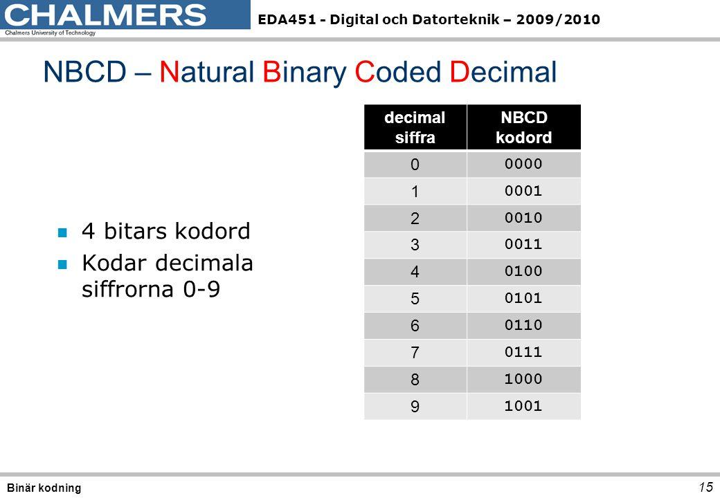 EDA451 - Digital och Datorteknik – 2009/2010 n 4 bitars kodord n Kodar decimala siffrorna 0-9 15 NBCD – Natural Binary Coded Decimal Binär kodning decimal siffra NBCD kodord 0 0000 1 0001 2 0010 3 0011 4 0100 5 0101 6 0110 7 0111 8 1000 9 1001