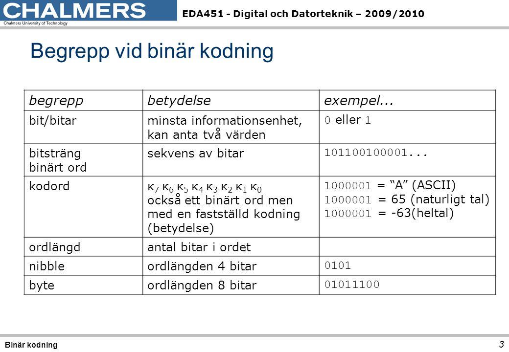 EDA451 - Digital och Datorteknik – 2009/2010 3 Begrepp vid binär kodning Binär kodning begreppbetydelseexempel... bit/bitarminsta informationsenhet, k