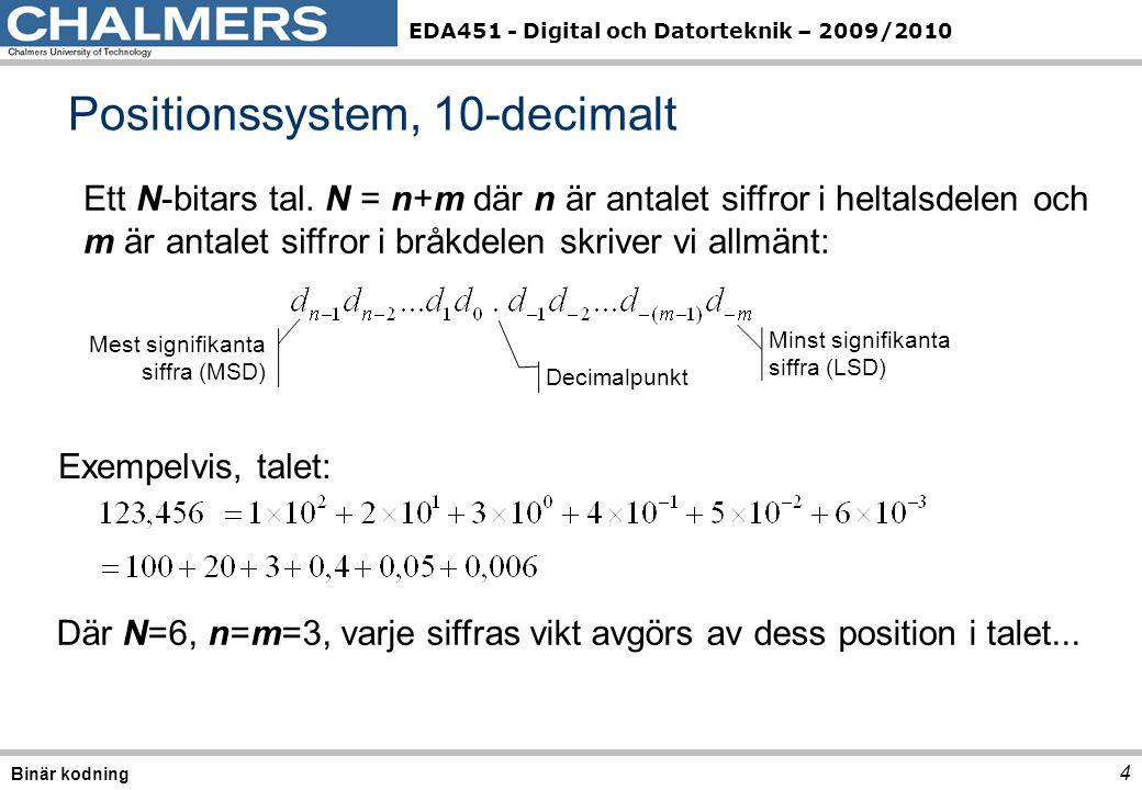 EDA451 - Digital och Datorteknik – 2009/2010 Positionssystem, 10-decimalt 4 Binär kodning Ett N-bitars tal. N = n+m där n är antalet siffror i heltals
