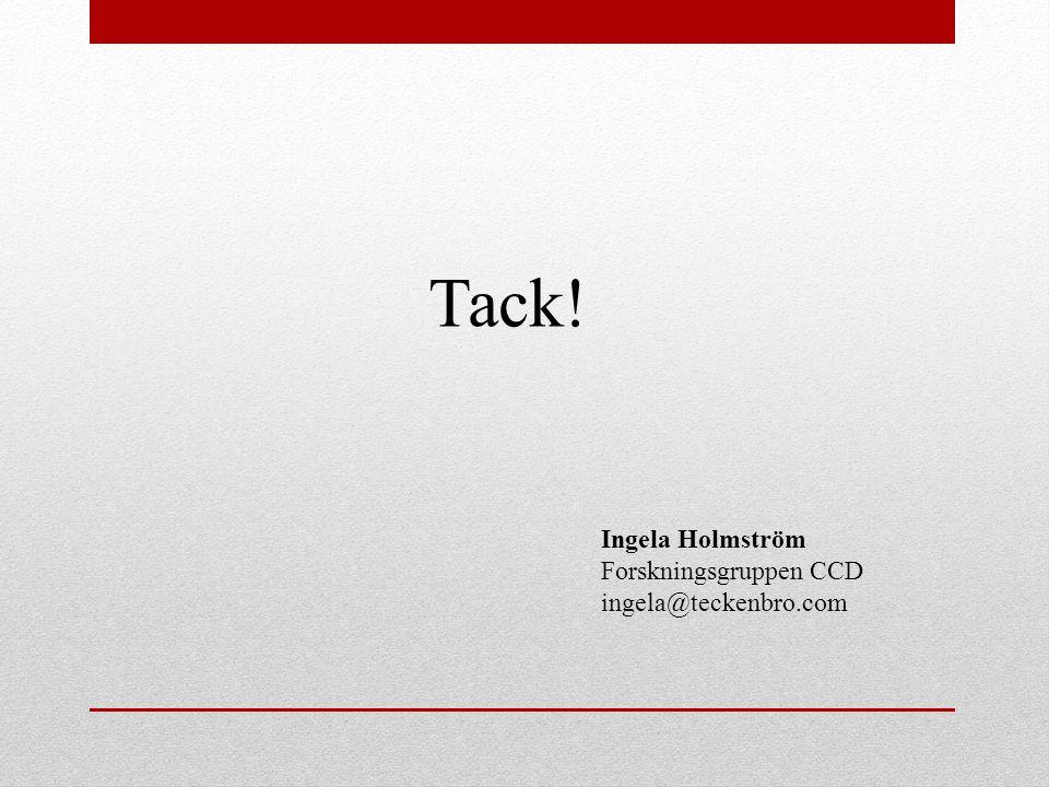Tack! Ingela Holmström Forskningsgruppen CCD ingela@teckenbro.com