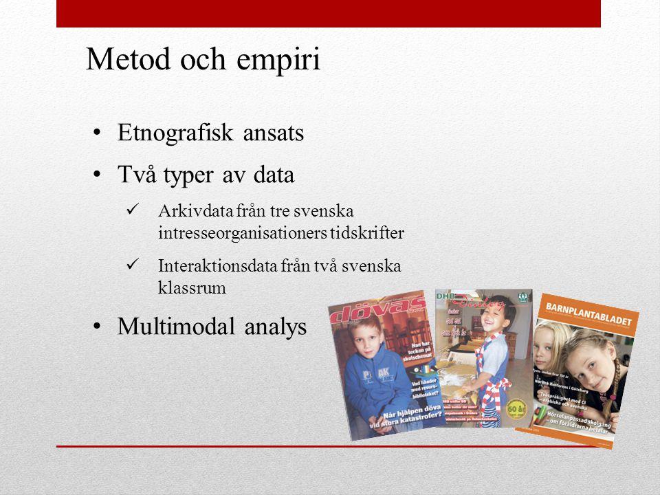 Metod och empiri Etnografisk ansats Två typer av data Arkivdata från tre svenska intresseorganisationers tidskrifter Interaktionsdata från två svenska