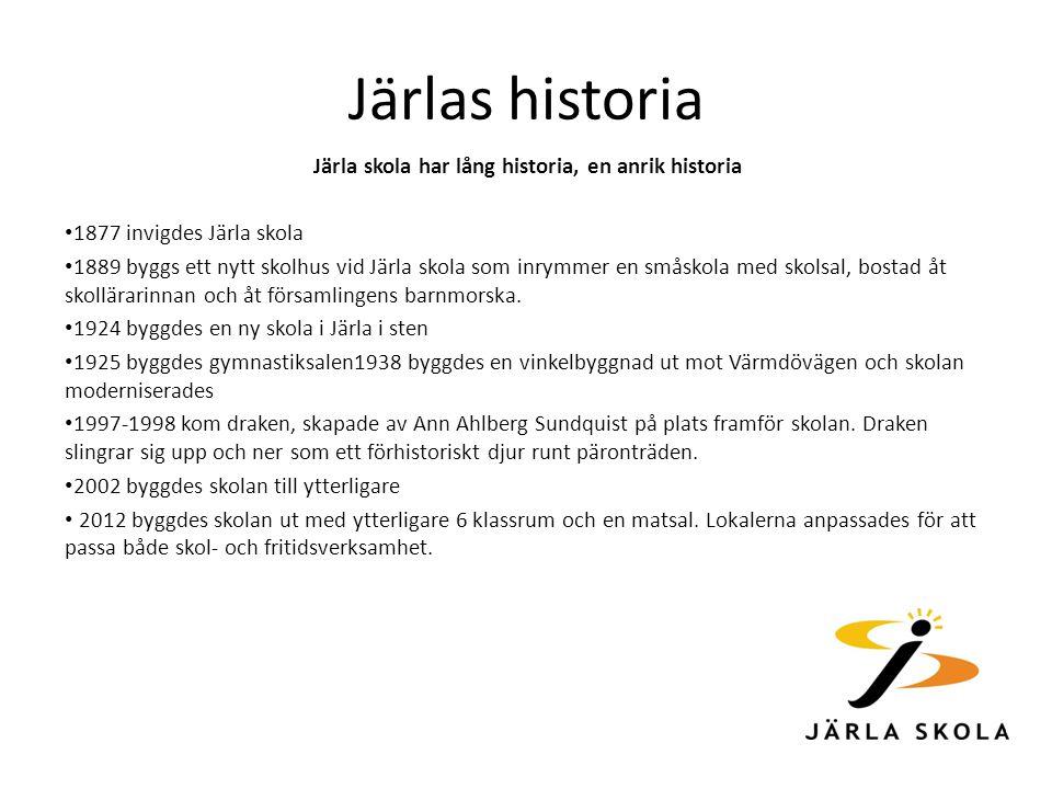 Järlas historia Järla skola har lång historia, en anrik historia 1877 invigdes Järla skola 1889 byggs ett nytt skolhus vid Järla skola som inrymmer en