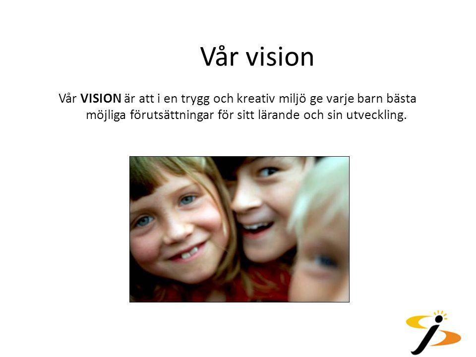 Vår vision Vår VISION är att i en trygg och kreativ miljö ge varje barn bästa möjliga förutsättningar för sitt lärande och sin utveckling.
