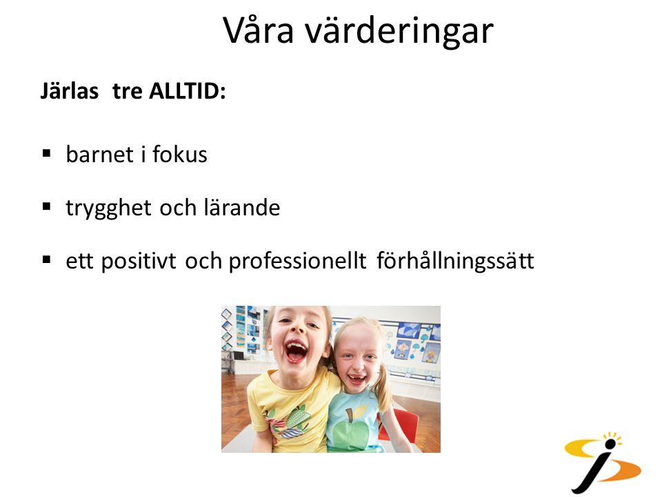 Våra värderingar Järlas tre ALLTID:  barnet i fokus  trygghet och lärande  ett positivt och professionellt förhållningssätt