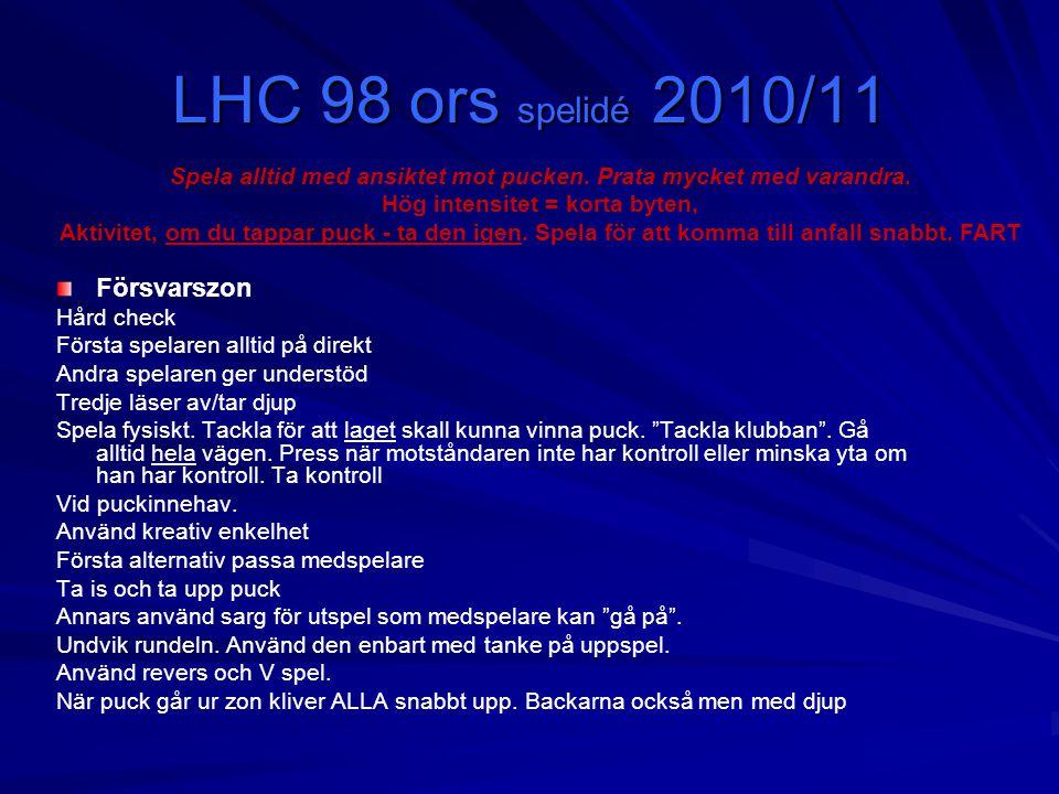 LHC 98 ors spelidé 2010/11 Försvarszon Hård check Första spelaren alltid på direkt Andra spelaren ger understöd Tredje läser av/tar djup Spela fysiskt.