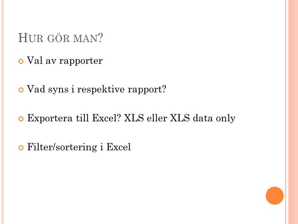 H UR GÖR MAN ? Val av rapporter Vad syns i respektive rapport? Exportera till Excel? XLS eller XLS data only Filter/sortering i Excel