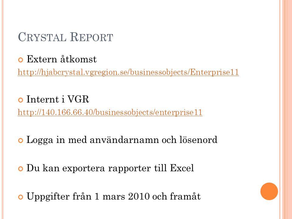 C RYSTAL R EPORT Extern åtkomst http://hjabcrystal.vgregion.se/businessobjects/Enterprise11 Internt i VGR http://140.166.66.40/businessobjects/enterpr