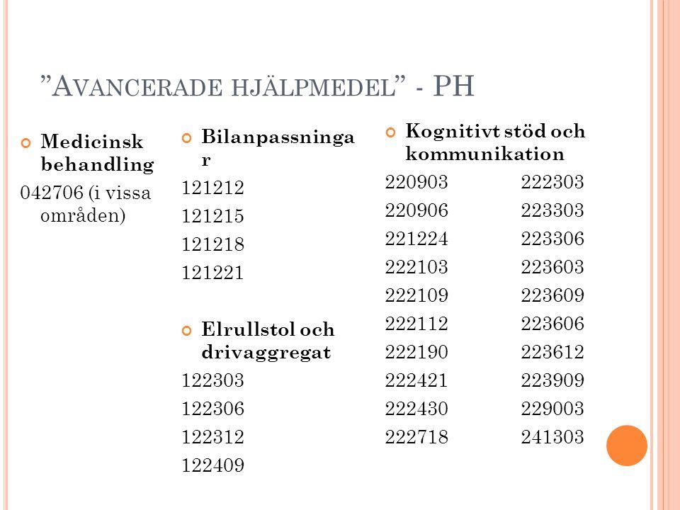 """""""A VANCERADE HJÄLPMEDEL """" - PH Bilanpassninga r 121212 121215 121218 121221 Elrullstol och drivaggregat 122303 122306 122312 122409 Kognitivt stöd och"""