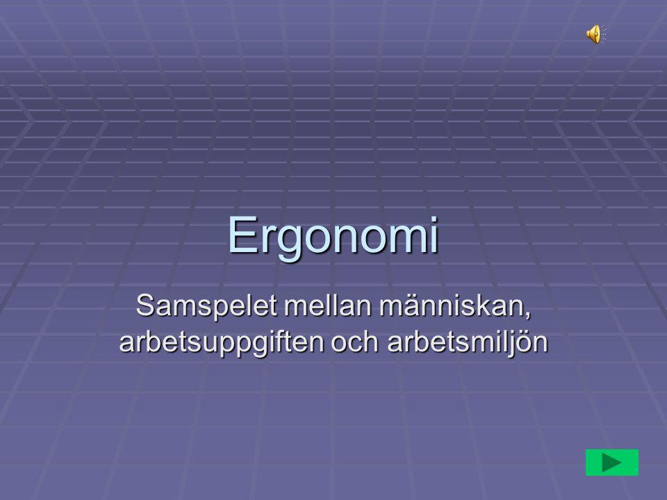 Ergonomi Samspelet mellan människan, arbetsuppgiften och arbetsmiljön