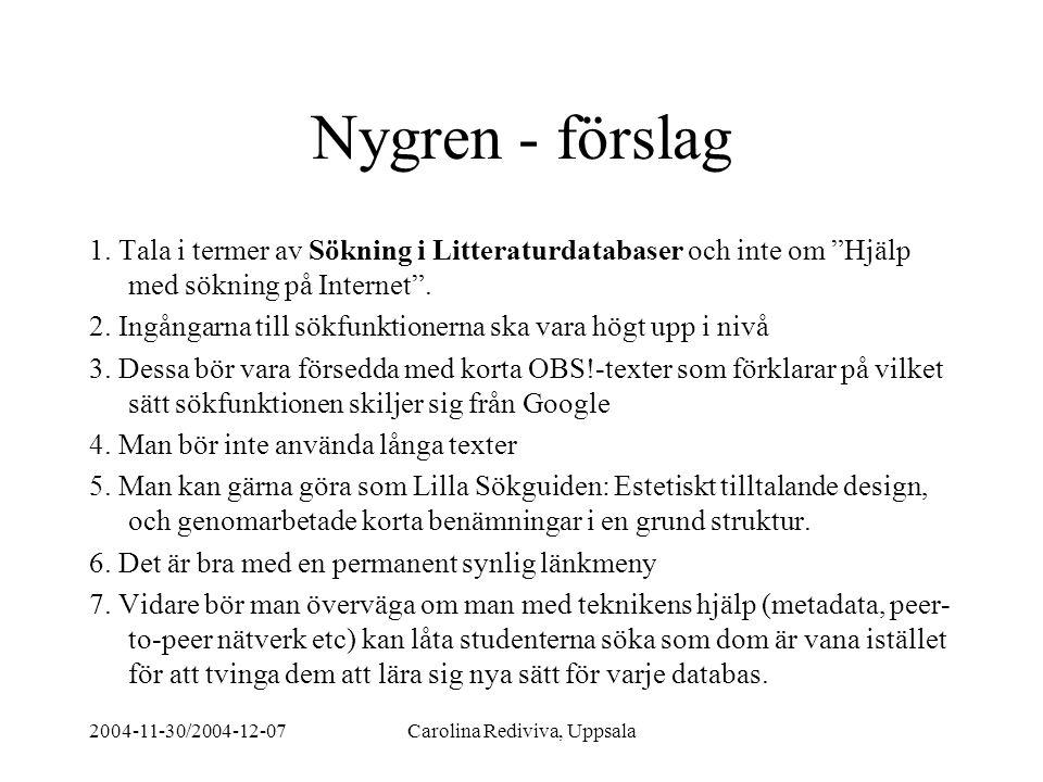 """2004-11-30/2004-12-07Carolina Rediviva, Uppsala Nygren - förslag 1. Tala i termer av Sökning i Litteraturdatabaser och inte om """"Hjälp med sökning på I"""