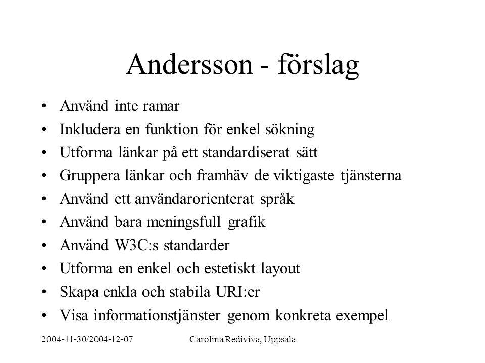 2004-11-30/2004-12-07Carolina Rediviva, Uppsala Andersson - förslag Använd inte ramar Inkludera en funktion för enkel sökning Utforma länkar på ett st