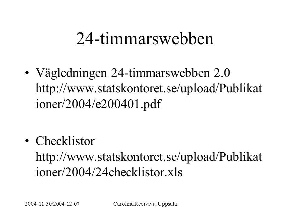 2004-11-30/2004-12-07Carolina Rediviva, Uppsala 24-timmarswebben Vägledningen 24-timmarswebben 2.0 http://www.statskontoret.se/upload/Publikat ioner/2